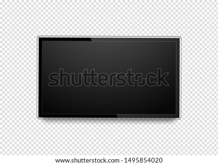 Realistic 4k ultra hd monitor. Blank black tv screen. Modern high definition TV. LCD display isolated on background