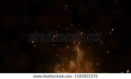 Realistic large fire with hot sparks rise in the night sky. Burning red flame on the black background, light and life. Fiery glowing flying away particles over black background. 4k 3D animation
