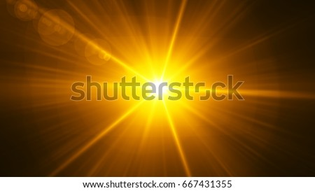 Realistic Lens Flare ,Sun Flare on black background object design. #667431355