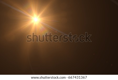 Realistic Lens Flare ,Sun Flare on black background object design. #667431367