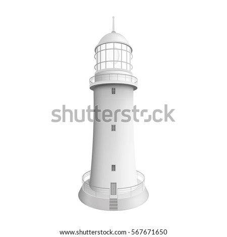 Realistic lighthouse. 3d Illustration isolated on white background. Graphic concept for your design