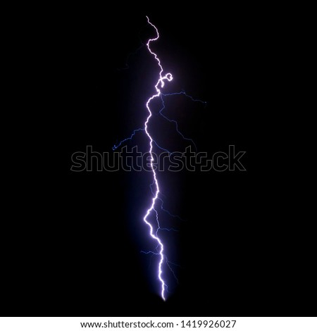 Realistic lightning isolated on black background for design element. Electricity. Natural light effect, bright glowing. #1419926027