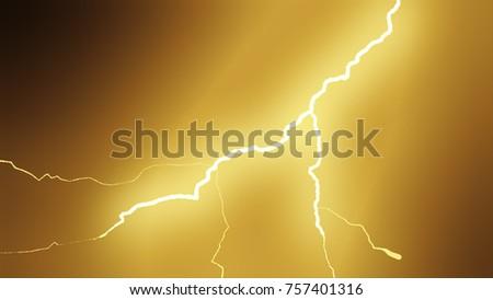 Stock Photo Realistic lightning strikes.Thunderstorm with flashing lightning. 3d illustration