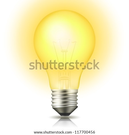 Realistic lit light bulb isolated on white. Illustration - Shutterstock ID 117700456