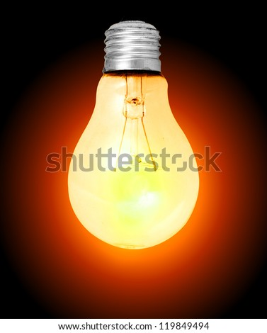 Realistic lit light bulb isolated on white.Keep path