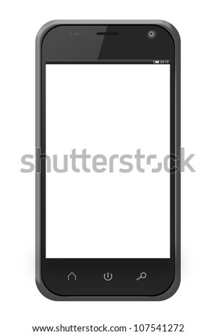 Realistic mobile phone in iphone style with blank screen isolated on white background.