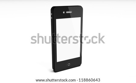 Realistic mobile phone with blank screen isolated on white background. - stock photo