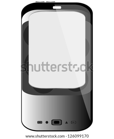 Realistic mobile phone with blank screen isolated on white background, raster