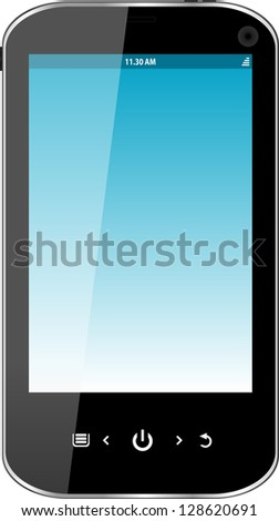 Realistic mobile phone with blue screen isolated on white background, raster