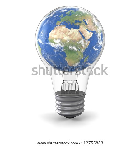 Realistic model of planet Earth inside lightbulb, concept of global energy solution. Elements of this image furnished by NASA