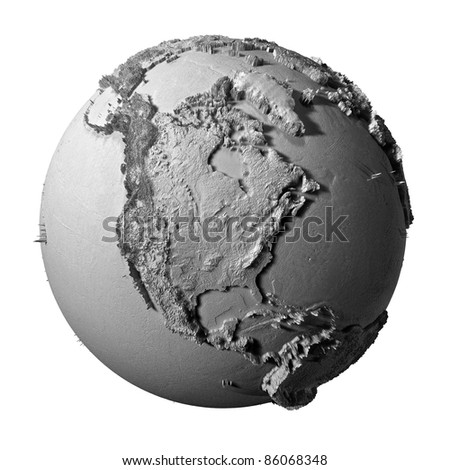 Realistic model of planet earth isolated on white background - north america, 3d illustration