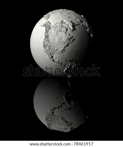 Realistic model of planet earth on black background, north america, 3d render