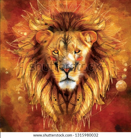 Realistic modern oil painting of lion , canvas art , colorful, art work. artist collection of animal painting for decoration and interior, canvas art, abstract.