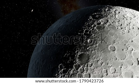 realistic moon in space, craters of the moon, moon, moon with copy-space 3d render
