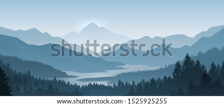 Realistic mountains landscape. Morning wood panorama, pine trees and mountains silhouettes.  forest hiking background