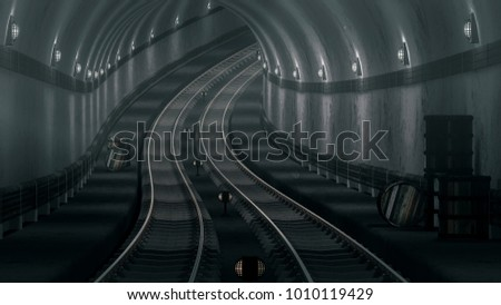 realistic old Subway metro tunnel,3D render.
