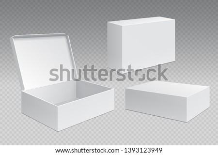 Realistic packaging boxes. White open cardboard pack, blank merchandising products mock up. Carton square container template