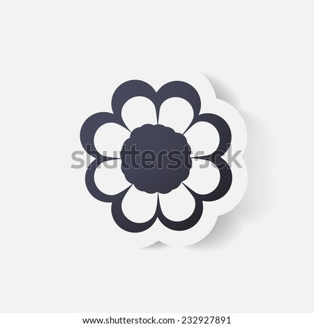 Realistic paper sticker: flowers. Isolated illustration icon