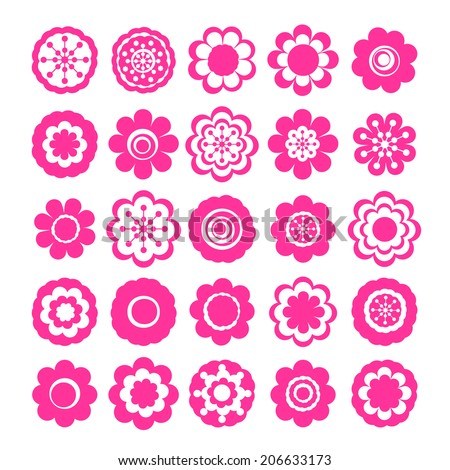 Realistic paper sticker: set of flowers. Isolated illustration icon #206633173