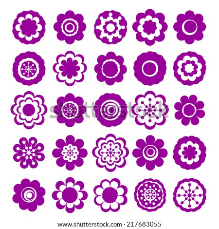 Realistic paper sticker: set of flowers. Isolated illustration icon #217683055