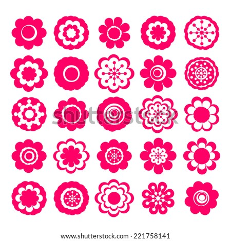 Realistic paper sticker: set of flowers. Isolated illustration icon #221758141
