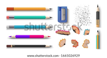 Realistic pencils. 3D colored school stationery with sharpener and shavings.  set isolated wooden graphite sharpened pencils with rubber of different size