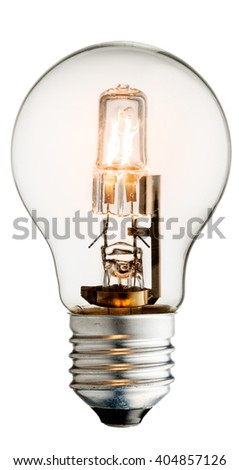 Realistic photo image of a turned on halogen light bulb isolated on a white background and with a clipping path #404857126