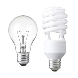 Realistic photo image of  light bulbs. isolated of Incandescent bulbs, fluorescent bulbs, orange old generation bulb, Tungsten bulb, and white energy saving bulb