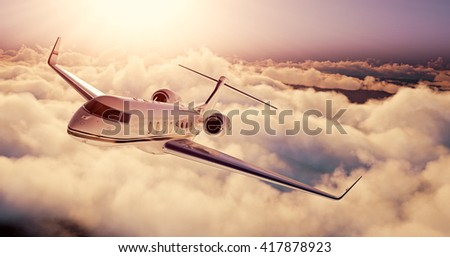 Realistic picture of White Luxury generic design private airplane flying over the earth at sunset. Empty blue sky with huge white clouds  background. Business Travel Concept. Horizontal. 3D rendering
