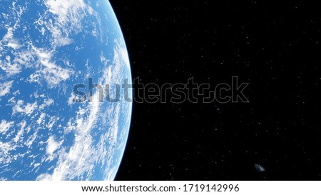 realistic planet Earth from space, Earth's oceans from space, Earth clouds from space, oceanic expanses, sunrise over the earth from space, 3d render