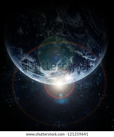 realistic planet earth in space - stock photo