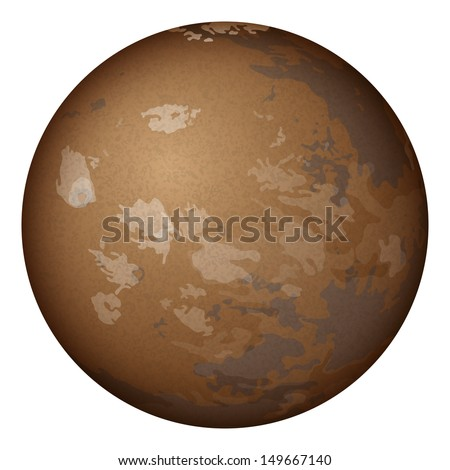 Realistic planet Mars isolated on white background. Elements of this image furnished by NASA (http://solarsystem.nasa.gov). , contains transparencies.