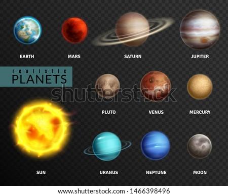 Realistic planets. Solar system planet space universe galaxy sun moon saturn mercury jupiter venus comet uranus pluto, astronomy isolated