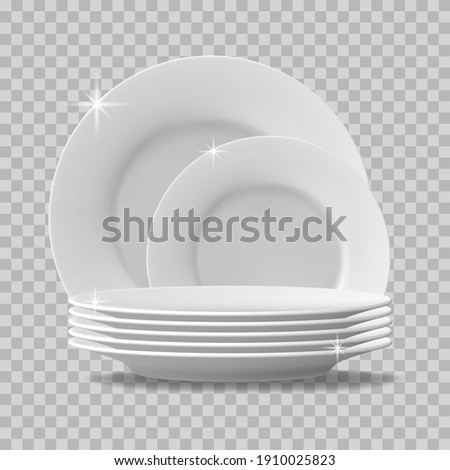 Realistic plates stack. Clean dishes, stacked kitchen tableware, dishwasher washed food plates. Stack of clean tableware  illustration. Porcelain crockery plate, detailed kitchen closeup utensil