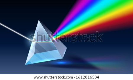 Realistic prism. Light dispersion, rainbow spectrum and optical effect. Physics optics ray refractions, pyramid prism reflecting realistic 3D  illustration