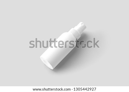 Realistic. Realistic Cosmetic plastic bottle can sprayer container. With lid and without. Template For Mock up Your Design. 3D rendering