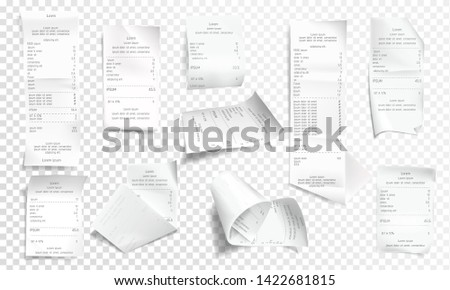 realistic receipt collection, white paper with payment isolated on background. Creased financial printout for shop, store. Retail bill, rumpled commercial check or invoice.