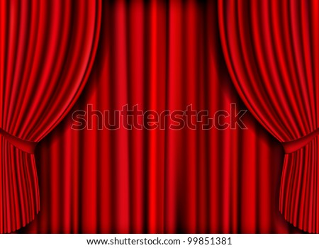 Realistic red curtain for product launches