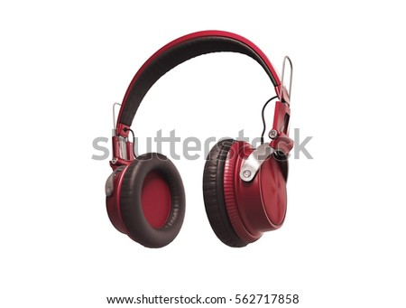 Realistic Red wireless headphones isolated on white background. 
