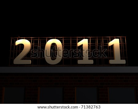 realistic render of 2011 sign at night on top of a building