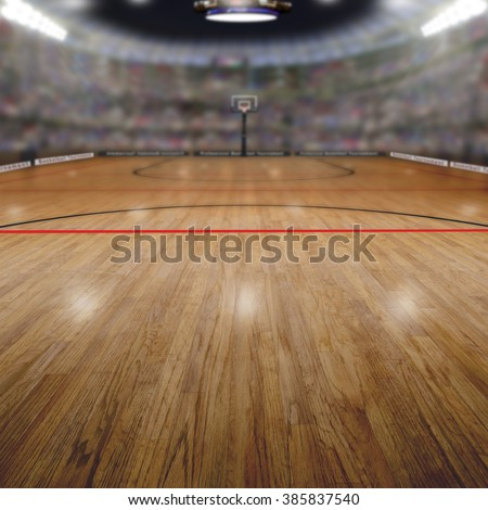 Realistic rendering of basketball arena background full of fans in the stands with copy space. Deliberate focus on foreground and shallow depth of field on background.