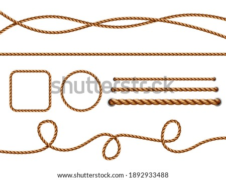 Realistic ropes. Yellow or brown curved nautical ropes with knots template