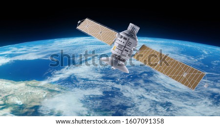 Realistic satellite in orbit around Earth globe. 3d render orbital sputnik illustration. The elements of this image are furnished by NASA.