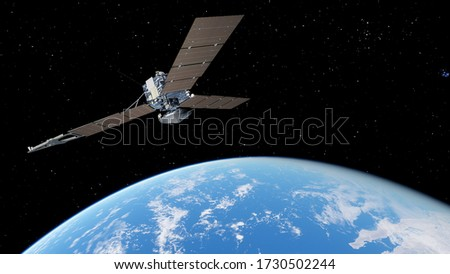 realistic satellite in orbit of the Earth, artificial satellite of telecommunications, satellite communications from Earth orbit, probe in Earth orbit 3d render