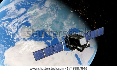 realistic satellite in orbit of the Earth, artificial satellite of telecommunications, satellite communications from Earth orbit, satellite over USA 3d render