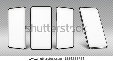 Realistic smartphone mockup. Cellphone frame with blank display isolated templates, phone different angles views.  mobile device concept