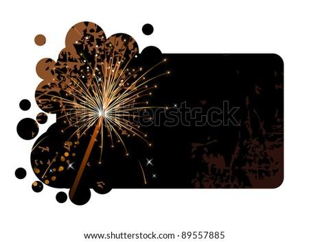 Realistic sparkling firecracker on a black background. Raster version.