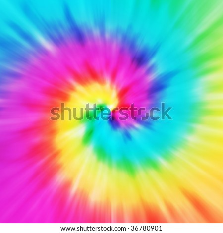 Realistic spiral tie-dye illustration in a variety of colors