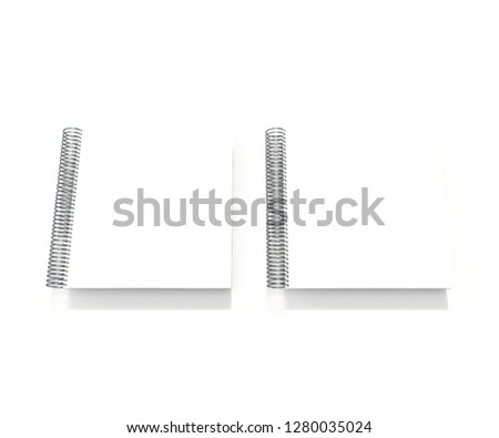 Realistic square spiral notebook mockup, sketchbook blank cover. Clear notepad front page or clean page with shadow  #1280035024