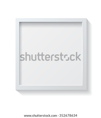Realistic Square White Blank Picture frame, hanging on a White Wall from the Front. Design Template for Mock Up. #352678634